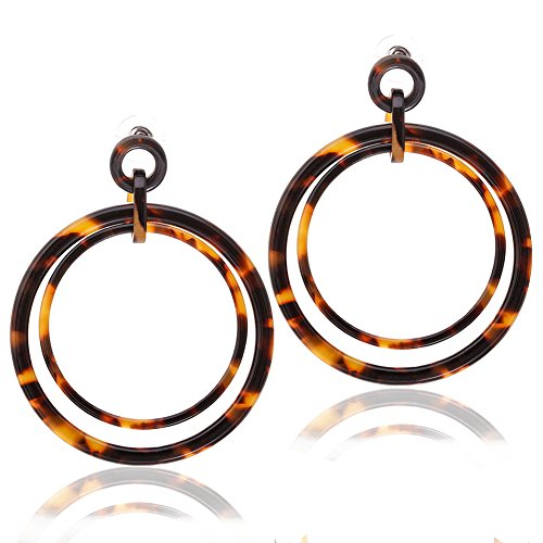 Acrylic Drop Dangle Earrings Mottled Resin Hoop Earrings Double Circle Statement Earring for Women (A Dark (Circle Hoop Dangle)
