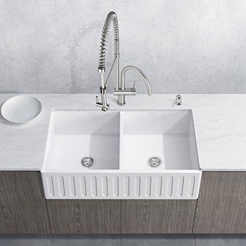 VIGO VG15473 36 inch Farmhouse Apron Double Bowl Matte Stone Kitchen Sink and Dresden Stainless Steel Faucet Set, 2 Piece ()