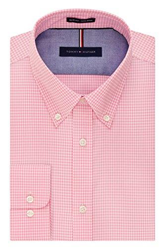 Tommy Hilfiger Men's Non Iron Slim Fit Gingham Buttondown Collar Dress Shirt, Vintage Rose, 17.5