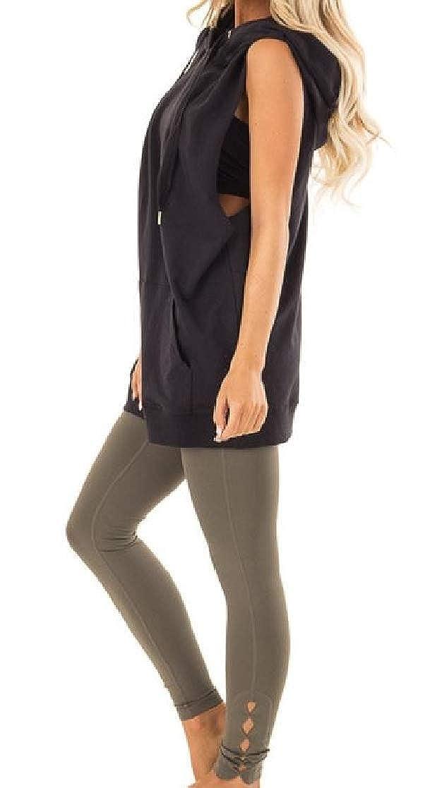 YUNY Women Sleeveless Hood Waistcoat Sweatshirts Loose Shirt Top Black M