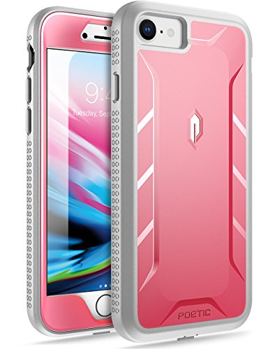 Poetic iPhone 7 / iPhone 8 Case, Revolution [360 Degree Protection] Full-Body Rugged Heavy Duty Case with [Built-in-Screen Protector] for Apple iPhone 7 (2016) / iPhone 8 (2017) Pink/Gray