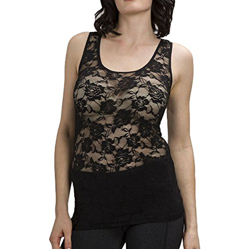 Rose Floral Lace Stretch Racer Back Mesh Tank Top Tee Shirt XS-L - Top Stretch Lace Black