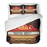 SanChic Duvet Cover Set Movie Brightly Theater Glowing Retro Cinema Neon Sign Old White Marquee Billboard Decorative Bedding Set with 2 Pillow Shams King Size