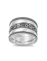 Sterling Silver Women's Bali Rope Ring Wide 925 Band Swirl Center New Sizes 5-12
