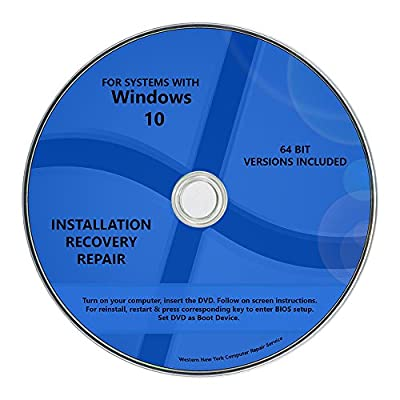Windows 10 Pro & Home Install Reinstall Upgrade Restore Repair Recovery 64 bit x64 All in One Disc WNYPC Utility Disk DVD