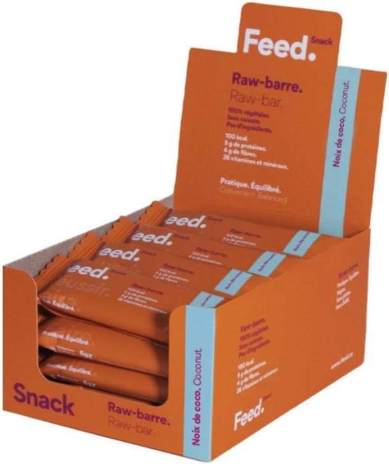 Raw-barra Coco. - Feed. Snack - Paquete de 32 x 29g - Sólo 100 kcal - 20% de proteína.