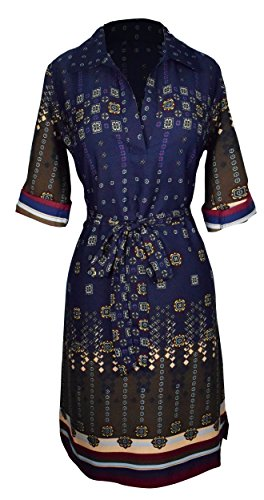 Peach Couture Womens Multi Pattern V Neck Shift ¾ Sleeve Waist Tie Shift Dress Small Navy ()