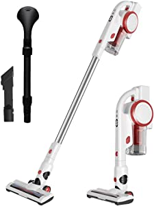 Aucma Cordless Stick Vacuum Cleaner, 17Kpa Powerful Suction Lightweight Stick Vacuum Cleaner 2 in 1 Handheld for House Car and Pet with Brushless Motor, LED Brush, Pet Brush & Wall-Mount