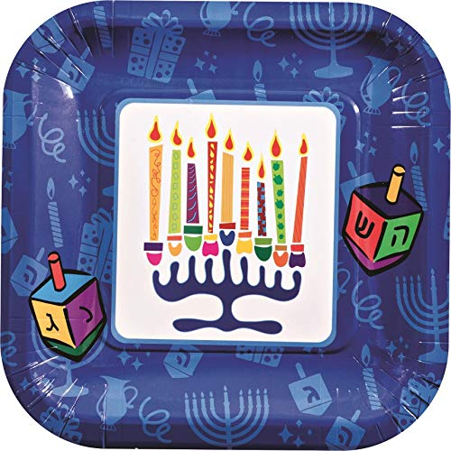 Hanukkah Themed Paper Square Plates - 15-Pcs Disposable Paper Plates - Menorah and Dreidels Decorative Plates - 7 Inch Practical Design -Mess free Chanukah Party - Ideal for Parties, Family Dinner