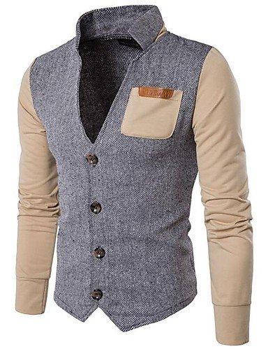 ZhongLiXunYi Herren Pullover Lässig/Alltäglich Einfach Solide Einfarbig Ständer Mikro-elastisch Baumwolle Lange Ärmel Ganzjährig