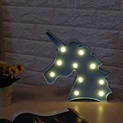 Zehui Decorative 3D Marquee Sign Light for Bedroom Kids Room LED Unicorn Night Light Blue
