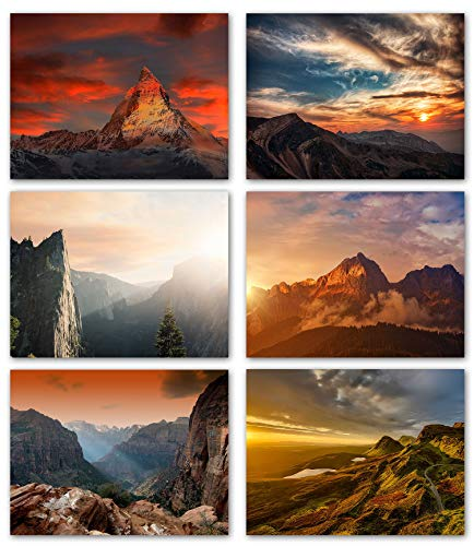 (Mountain Sunsets Blank Note Cards - Greeting Cards with Envelopes - 6 Unique Designs - 5.5