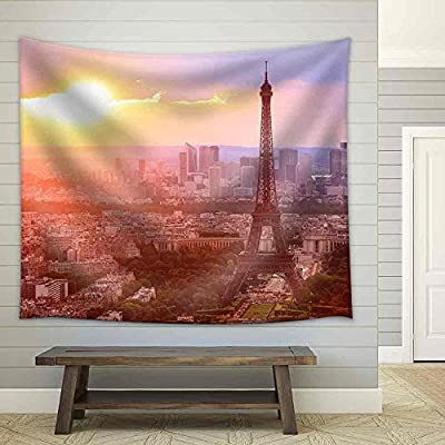 Astonishing Expert Craftsmanship, Eiffel Tower Paris at Sunset Beautiful Colors Fabric Wall, Made For You