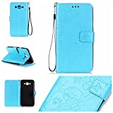 Galaxy J7(2015 Model) Cover with Free Screen Protector,Funyye Leather Wallet Strap Slots Cover Butterfly Embossed Design Full Protection Stand Case for Galaxy J7(2015 Model) - Blue