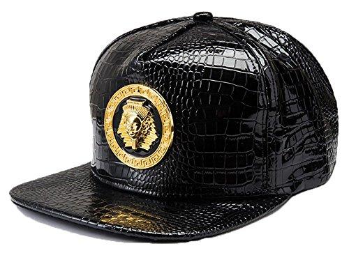 NUKIC Adjustable Egypt Pharaohs Snakeskin Print Black Snapback Cap Hat for Men Baseball Cap [Black] (Snakeskin Baseball)