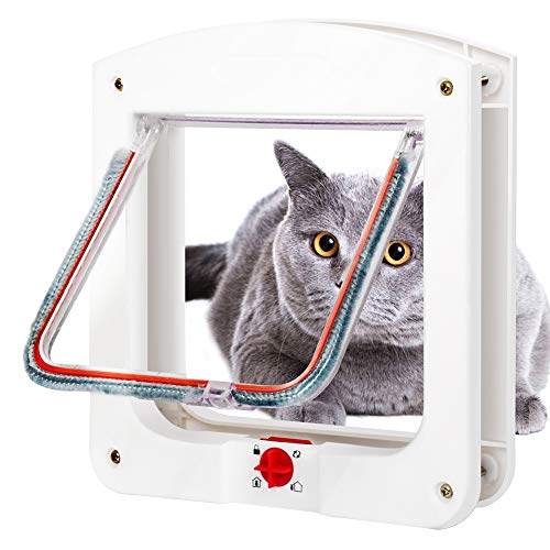 aimu Cat Mate 4 Way Lockable Cat Flap Door,Pet Door for Cats and Small Dogs,White