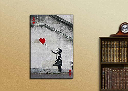Poker Cards Hearts Ace Banksy Girl with Red Heart Shaped Balloon(There is Always Hope)