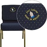 Flash FD-CH0221-4-GV-S0810-EMB-GG Blue Dot Fabric Church Chair 16 Gauge Steel Frame