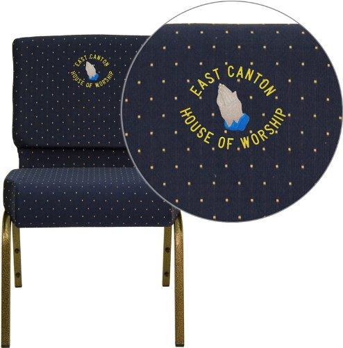 Flash FD-CH0221-4-GV-S0810-EMB-GG Blue Dot Fabric Church Chair 16 Gauge Steel Frame by Flash