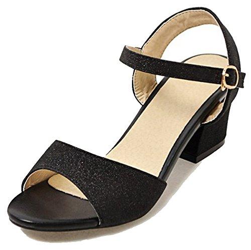 Easemax Donna Trendy Paillettes Glitter Fibbia Alla Caviglia Peep Toe Metà Tacco Grosso Sandali Slingback Nero