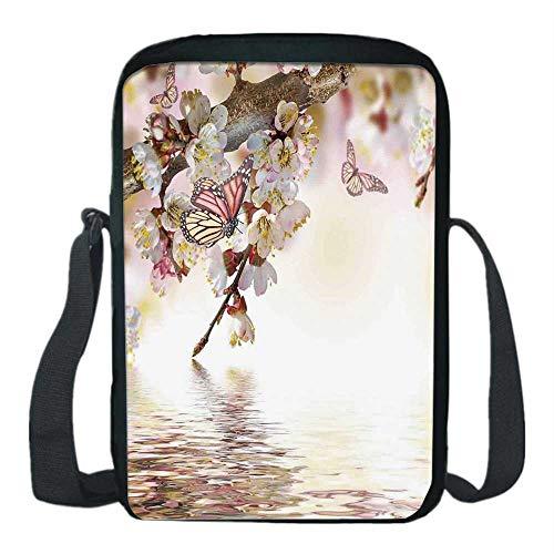 (Modern Print Kids Crossbody Messenger Bag,Natural Floral Japanese Style Garden Cherry Blossom Sakura Tree Butterfly Nature for Boys,9''H x 6''L x 2''W)