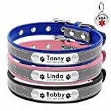 """Beirui Reflective Custom Dog Collar with Soft Padded - Personalized Engraved Dog ID Collars with Nameplate - Leather Dog Cat Collar for Small Medium Puppy Dogs - ESA ID TAG as Gift,Black,8-10"""""""