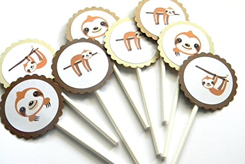 Sloth Cupcake Toppers - Set of 12