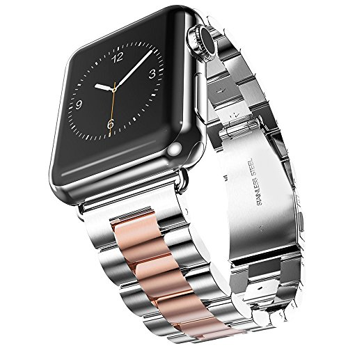 (SHJD Band Compatible with Apple Watch, 42mm Stainless Steel iWatch Wristband Metal Buckle Clasp Strap Replacement Link Bracelet for Apple Watch Series 3/2/1 Sports Edition (Silver/Rose Gold, 42mm))