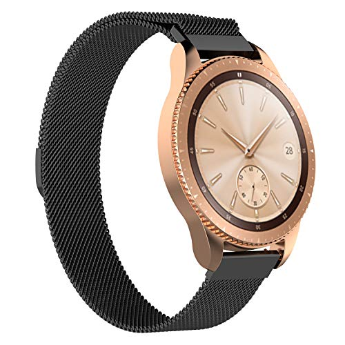 Watch Band Compatible for Samsung Galaxy Watch, MoreToys Milanese Loop Replacement Accessory Wristband Watchband for Samsung Galaxy Watch (42MM, Black)