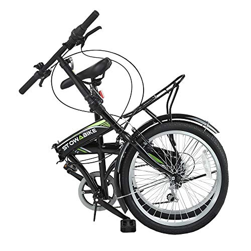 Stowabike 20 Folding City V3 Compact Foldable Bike - 6 Speed Shimano Gears Black