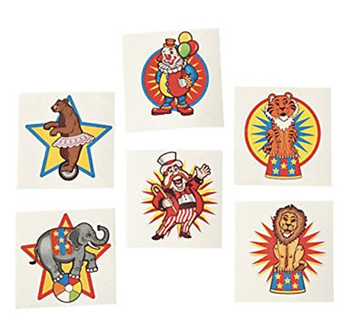 Carnival Circus Party Favor Set- Bracelets 60 Pieces Clown Noses and Tattoos