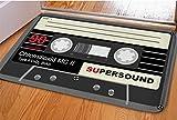 Rectangle Cassette Tape Doormat For College Dorm Decor Black Nonslip Soft Indoor Floor Entry Mat Absorbent Flannel Hallway Laundry Room Interior Small Area Rug Fadeless Bathroom Step Sliding Door Mat