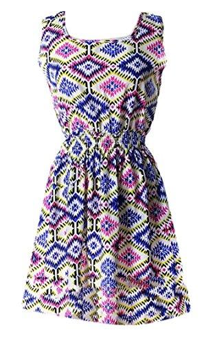 Print Flowy Beach Dress 1 Neck Women's Jaycargogo Mini O Floral Summer Sleeveless Boho xzqw81Bq