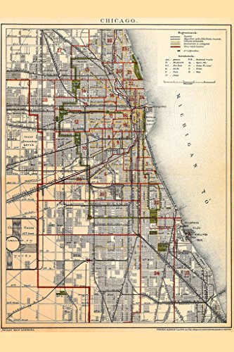 City of Chicago Illinois Historic Antique Style Map Poster - Map Michigan Chicago