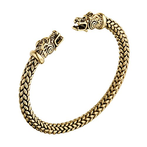 (AOCHEE Norse Viking Double Dragon Head Twisted Bracelet Arm Ring Bangles Adjustable Men's Jewelry (Gold) )