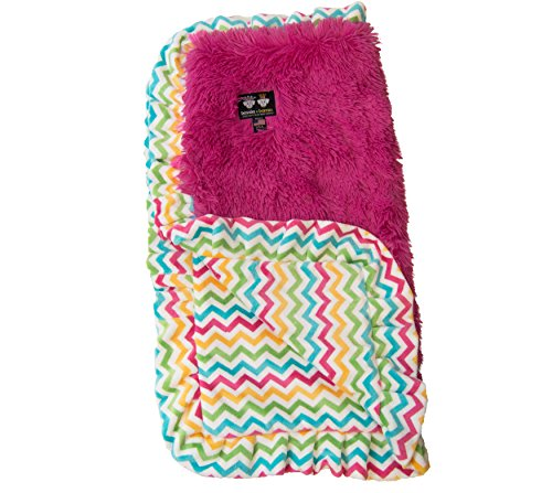 BESSIE AND BARNIE Ocean Wave Ruffle/Lollipop Luxury Shag Ultra Plush Faux Fur Pet, Dog, Cat, Puppy Super Soft Reversible Blanket (Multiple Sizes)
