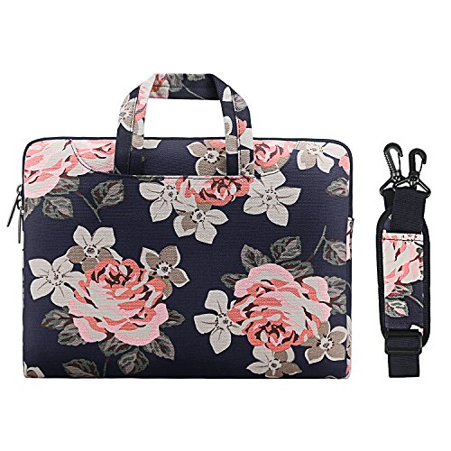 MOSISO Laptop Shoulder Bag Compatible 13-13.3 Inch MacBook Pro Retina, MacBook Air, Surface Book, Surface Laptop, Canvas Rose Pattern Laptop Shoulder Messenger Handbag Case Cover Sleeve, Dark Blue