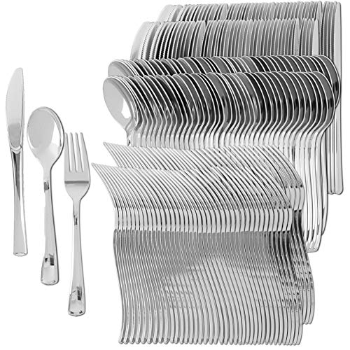 Plastic Silverware | Heavy Duty & Solid Cutlery Disposable Utensils Set | Perfect for Weddings, Buffets, Luncheon & More | 100 Forks, 100 Spoons & 100 Knives Combo Pack | 300 Count