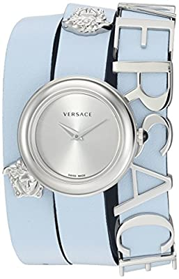 Versace Women's 'V-Flare' Quartz Stainless Steel and Leather Watch, Color:Blue (Model: VEBN00118) from P2F Holdings, LLC dba Madluxe Group Watches Parent Code