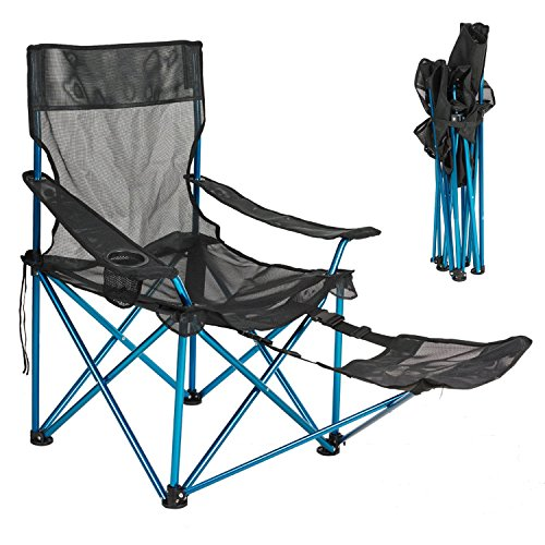 Camp Solutions Light-weight Mesh Lounge Reclining Aluminum Alloy Folding Camp Chair with Footrest