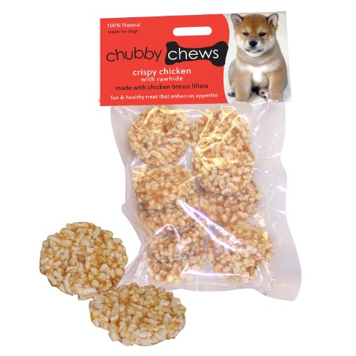 Chubby Chews Rawhide and Real Crispy Chicken Treats, 1-1/2-Inch Round Shape Biscuit, 3-Ounce Bag, My Pet Supplies