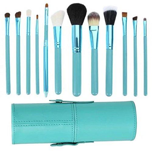 Garrelett 12 Pcs Makeup Brush Set Nylon Wool Wood Cosmetic Brushes Kit Toiletry Kit + Green Cup Holder - Mall Mash White
