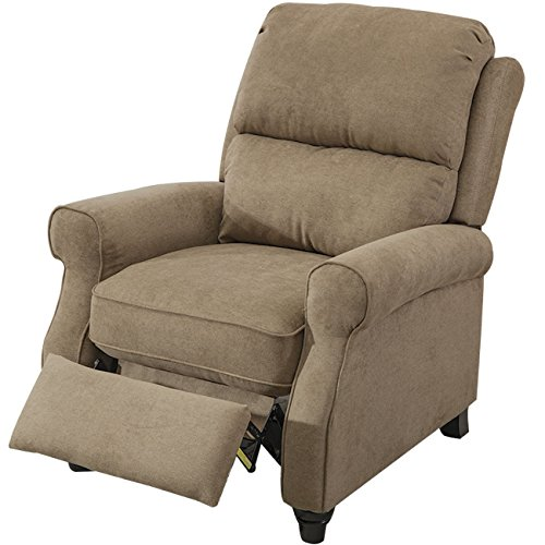 BONZY Pushback Recliner Roll Arm and Easy to Push Mechanism Recliner Chair - Light Brown
