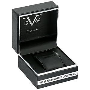 V19.69 Italia Men's Quartz Metal and Silicone Casual Watch, Color:Black (Model: 37VM100501A)