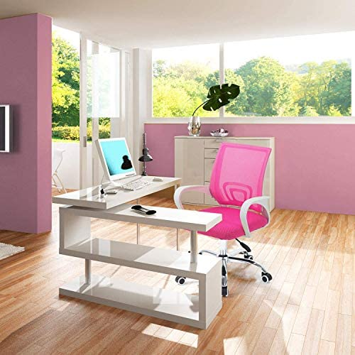 SEATZONE Executive Home Office Desk Chair with Wheels and Arms, Mesh Office Chair Computer Chair Lumbar Support, Rolling Swivel Task Chair Pink