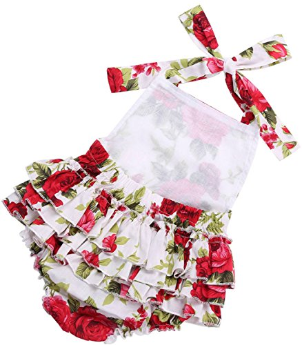 Fubin Baby Girl's Floral Print Ruffles Romper Summer Clothes with Headband 0-6 months red rose