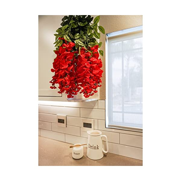 Artificial Wisteria Long Hanging Bush Flowers – 15 Stems For Home, Wedding, Restaurant and Office Decoration Arrangement, Red