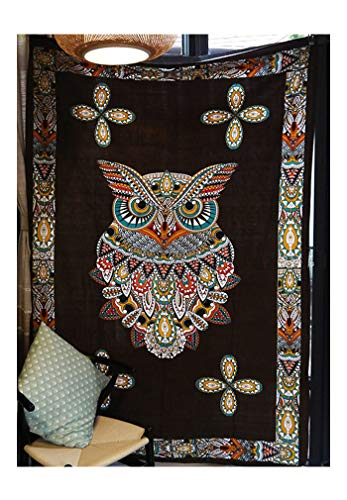 Enipate Owl Tapestry Curtains 60 x 80 Inch Hippie Bedspreads Wall Hanging for Dorms Home Décor