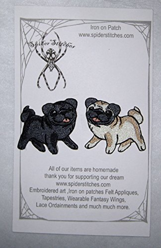 (Kawaii Black and Fawn Pug Pair Iron on Patch)