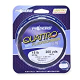 Hi-Seas Quattro 100% Fluorocarbon Line, 25 Pound Test, 4 Color Camo, 200-Yard